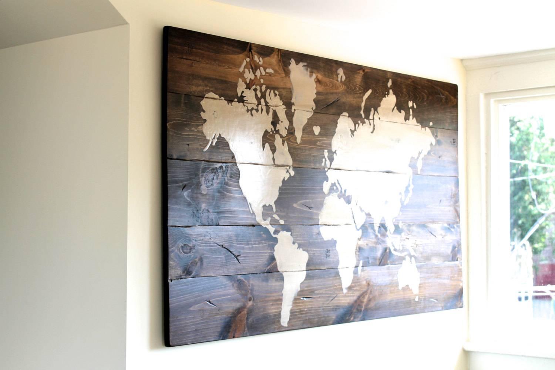 Wall Art Design: Map Wall Art World Map Sign Custom Sign Wooden For 2017 Framed World Map Wall Art (View 5 of 20)