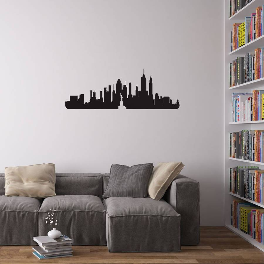 Wall Art Design: Nyc Wall Art Rectangle 4 Panel Canvas Grey With Current New York Skyline Canvas Black And White Wall Art (View 13 of 20)