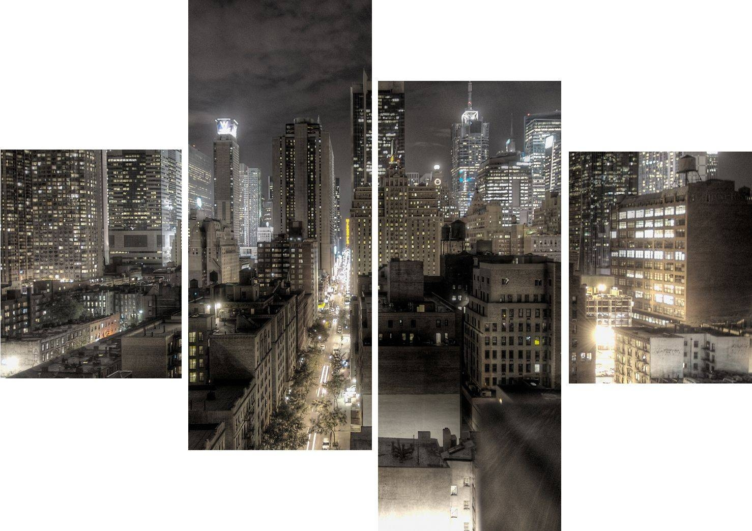 Wall Art Design: Nyc Wall Art Rectangle Grey Large 4 Panel Wall Within 2017 Black And White New York Canvas Wall Art (View 3 of 20)