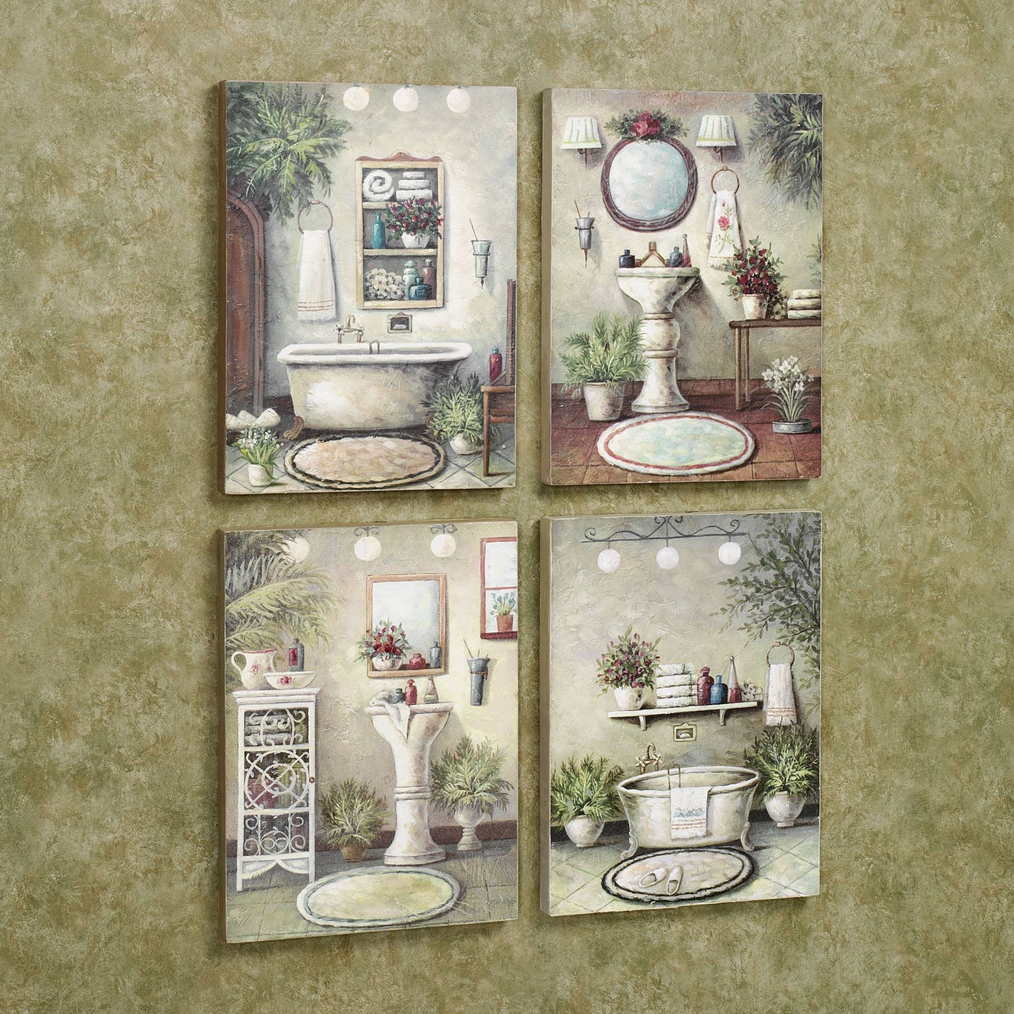 Wall Art Design: Wall Art For Bathroom Decor Rectangle White Brown Within Recent Bathroom Wall Hangings (View 5 of 20)
