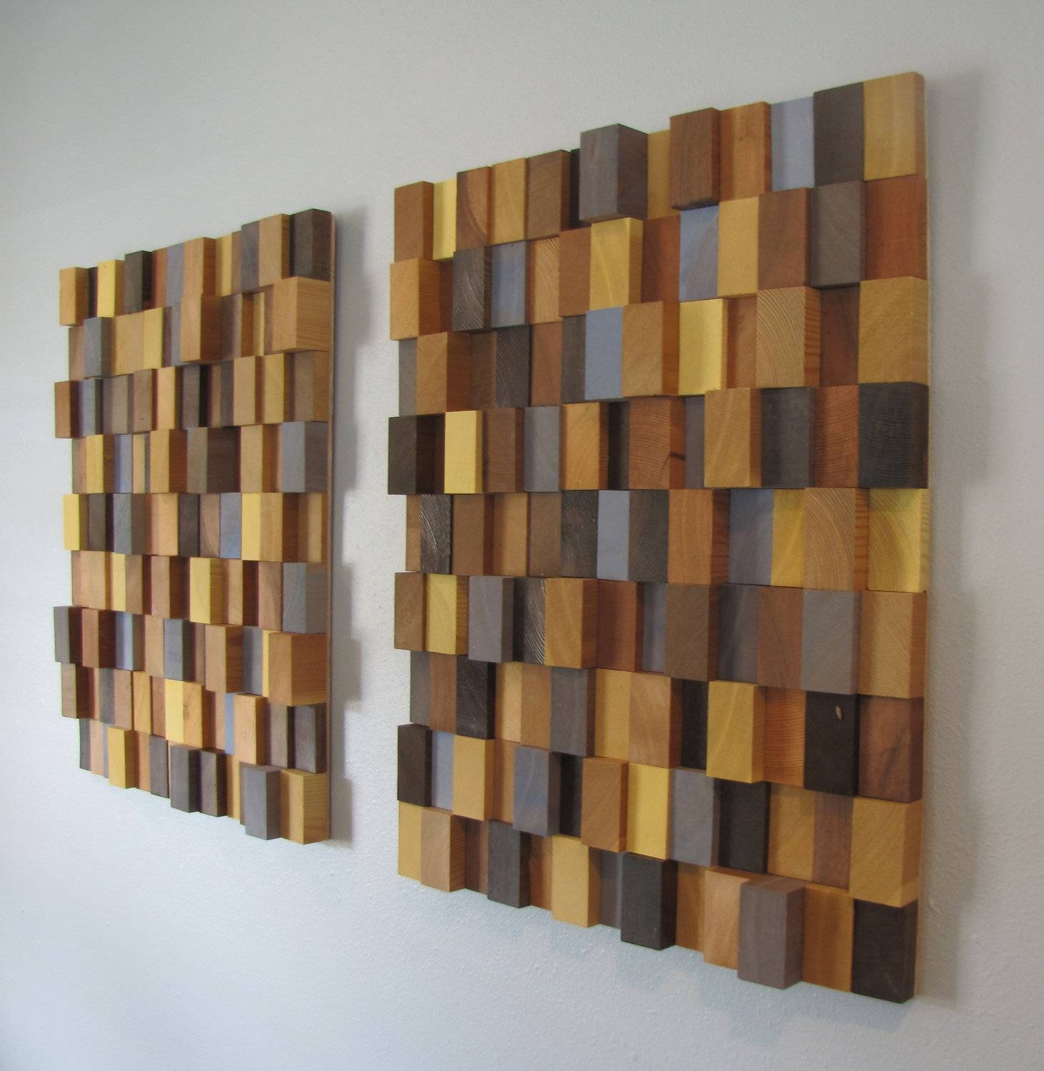 Wall Art Design: Wooden Wall Art Brown Square Yellow Black Grey Regarding 2018 Contemporary 3D Wall Art (View 20 of 20)