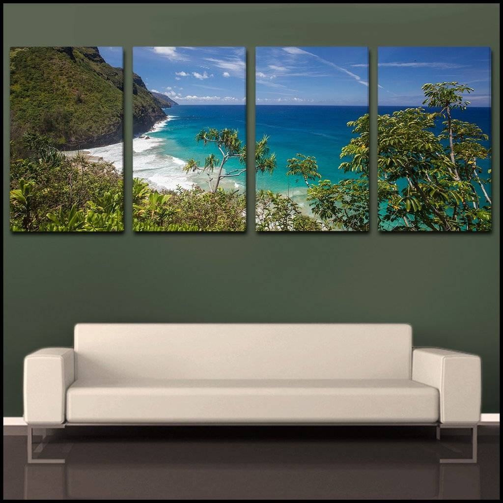 Wall Art Designs: 4 Piece Canvas Wall Art Green Wall Square Sea Pertaining To Most Recent 4 Piece Wall Art (View 4 of 15)
