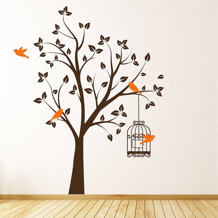 Wall Art Designs: Bird Wall Art Tree With Bird Cage Wall Stickers Within Most Popular Metal Birdcage Wall Art (View 11 of 15)