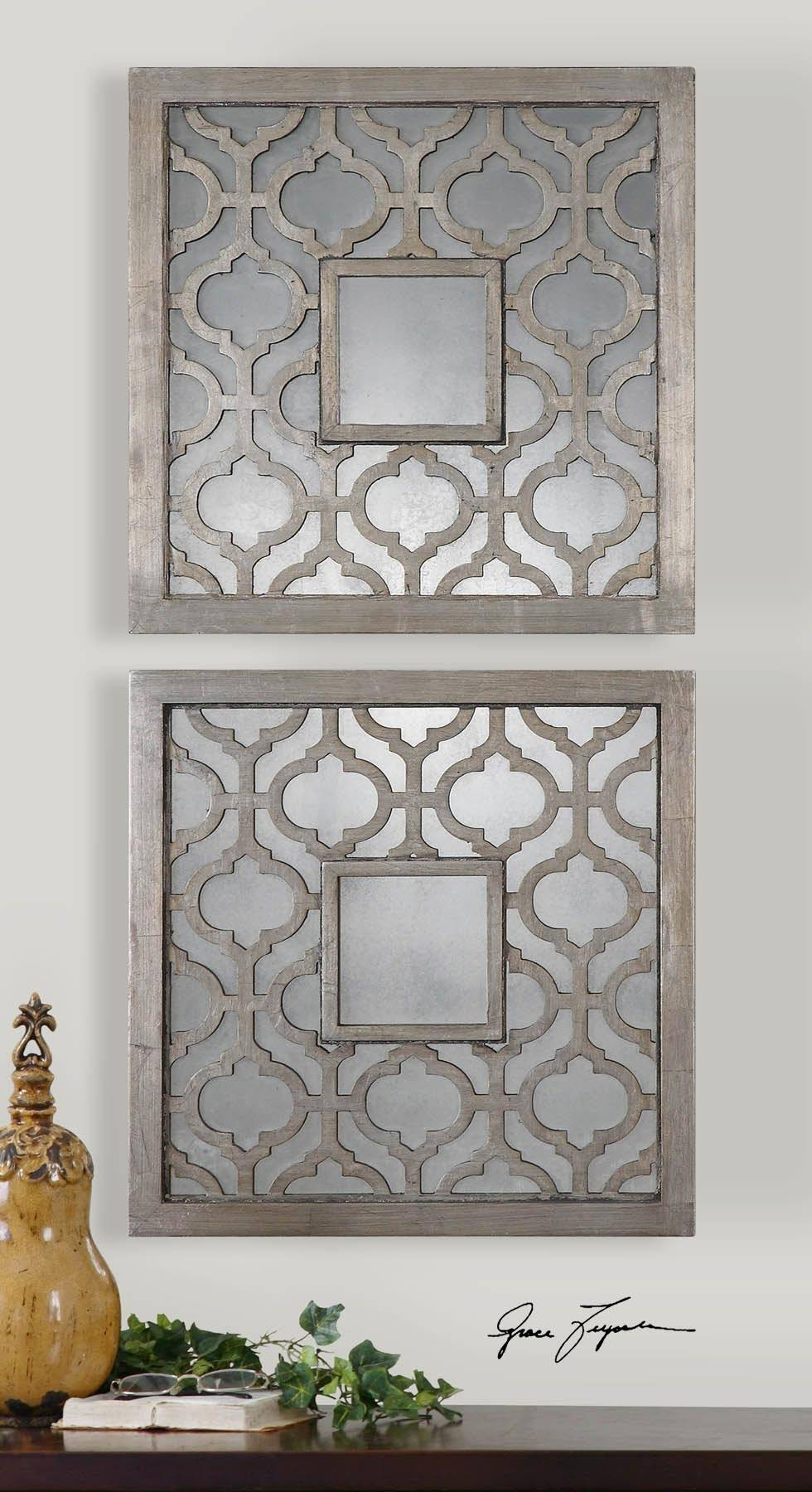 Wall Art Designs: Dimensional Wall Art Moroccan Trellis Antiqued Pertaining To Most Current Metal Framed Wall Art (View 19 of 20)