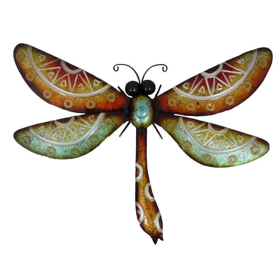 Wall Art Designs: Dragonfly Wall Art Colorful Metal Hanging Garden Throughout Newest Dragonfly 3D Wall Art (View 17 of 20)