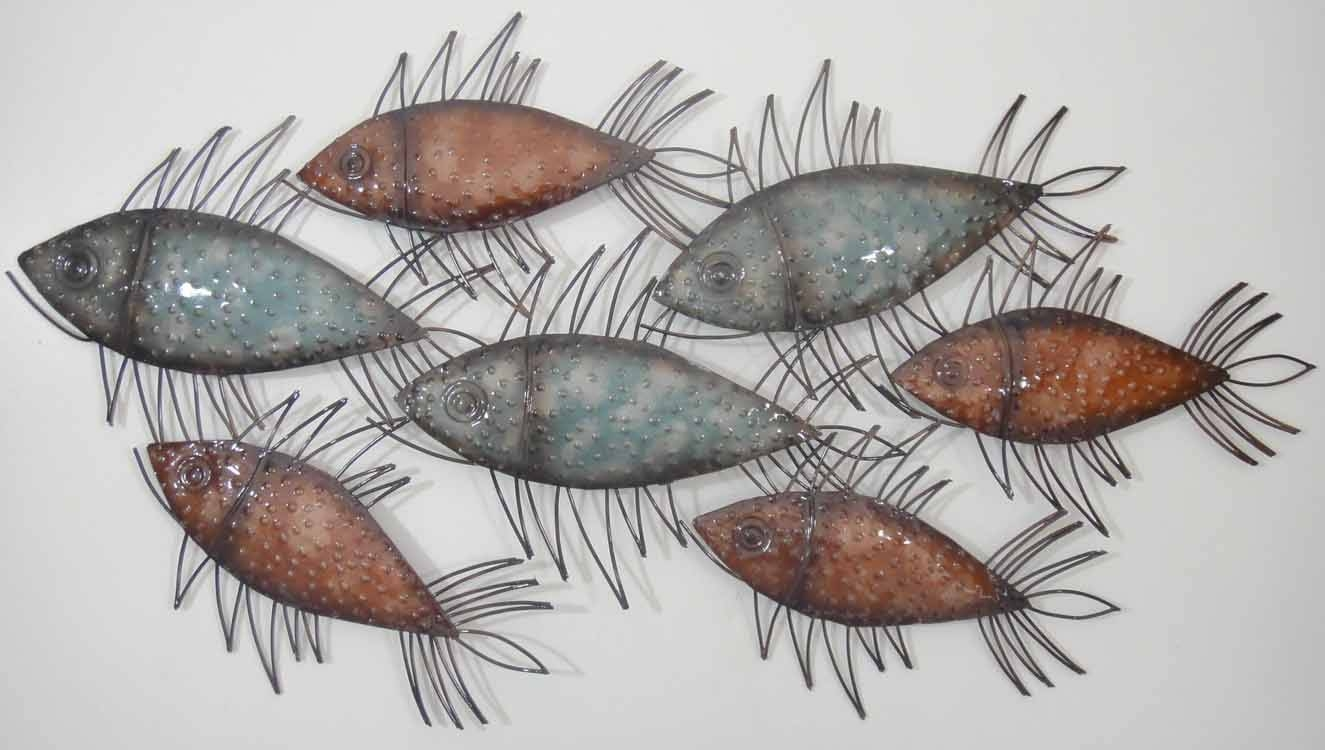 Wall Art Designs: Fish Wall Art Metal Glass Wall Art Spiky Colour Pertaining To Recent Shoal Of Fish Metal Wall Art (View 2 of 30)