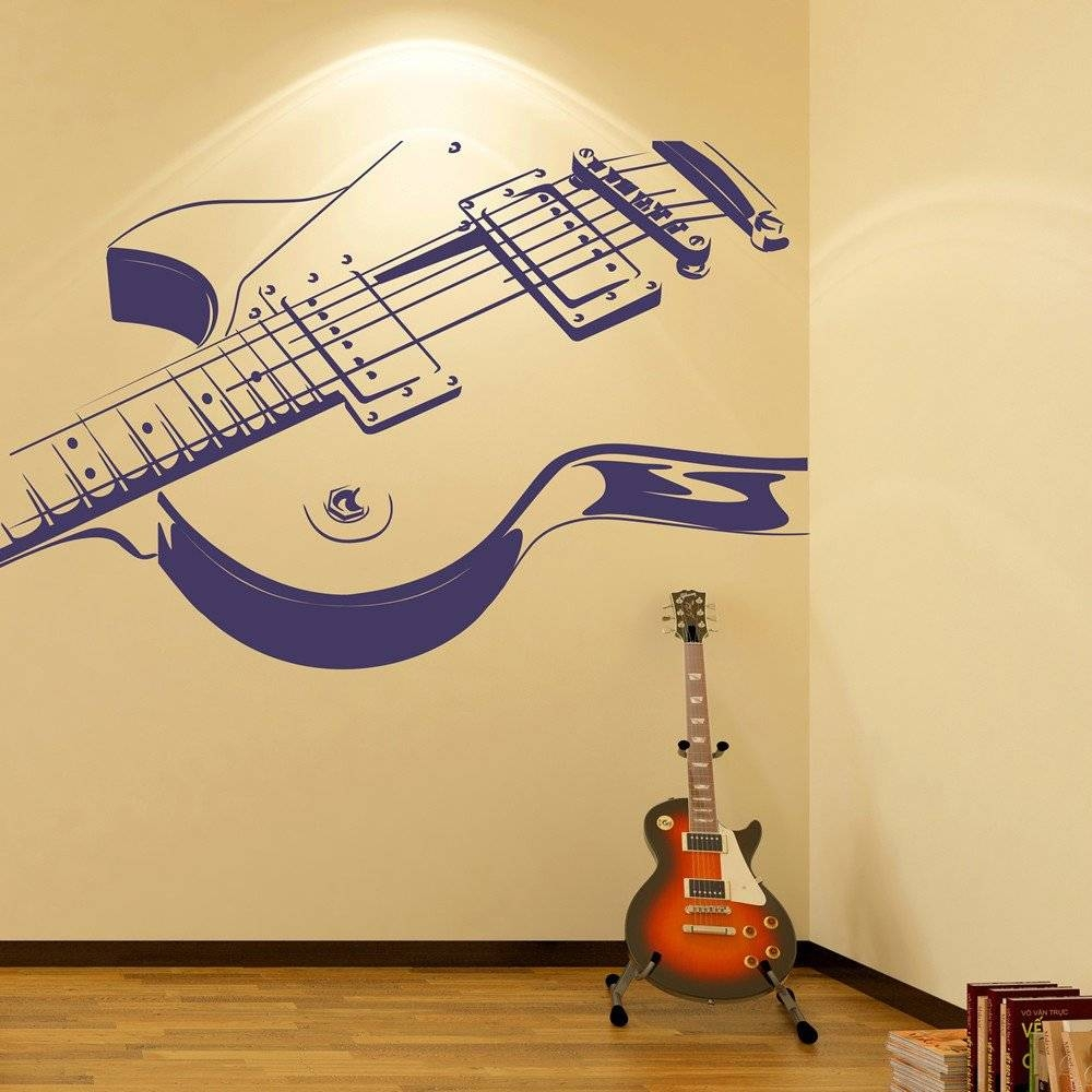 Wall Art Designs: Guitar Wall Art Electric Guitar Wall Stickers Inside Most Recently Released Guitar Metal Wall Art (View 23 of 30)