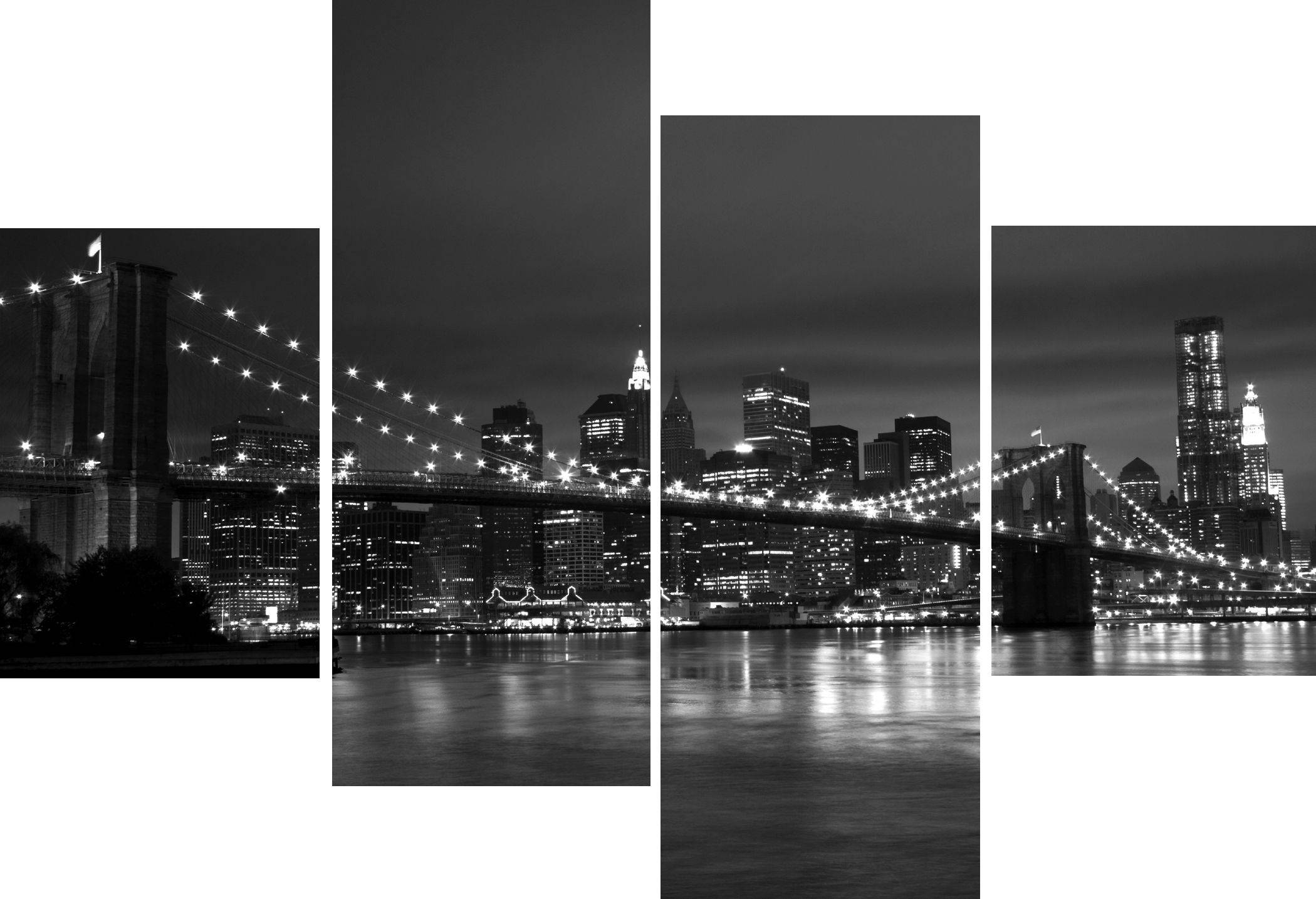 Wall Art Designs: New York Wall Art Large 4 Multi Panel Art Work Regarding 2018 Large Black And White Wall Art (Gallery 18 of 20)