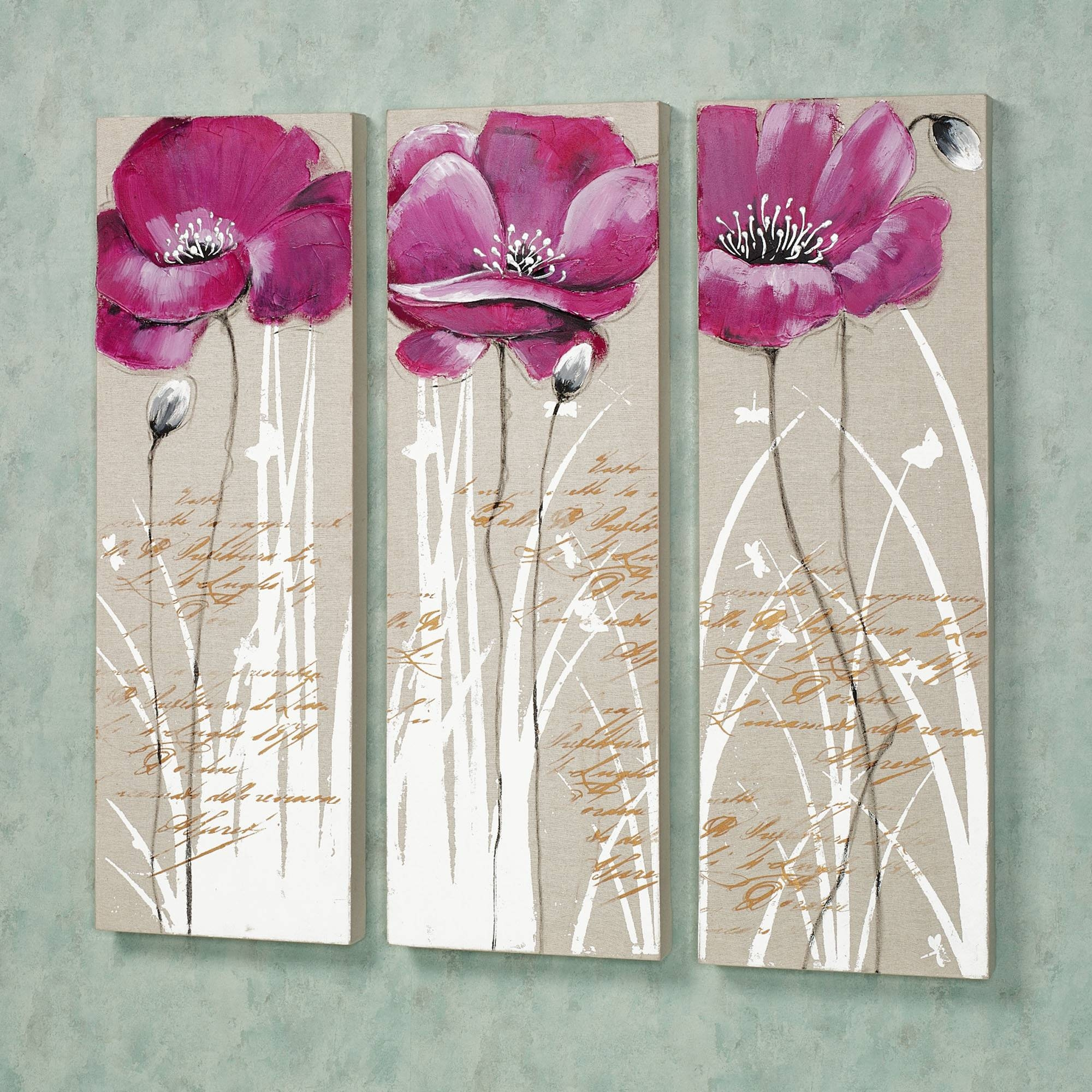 Wall Art Designs: Pink Wall Art Wall Art Pink Set Three Floral For Latest Pink And Grey Wall Art (View 16 of 20)