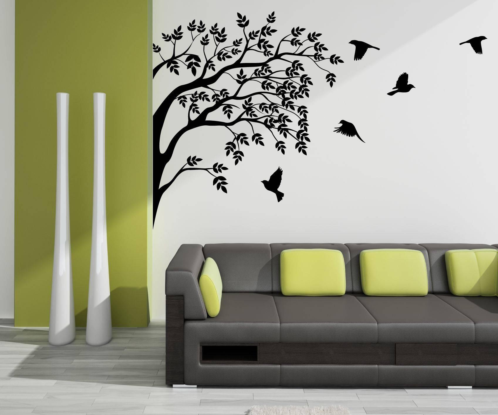 Wall Art Designs: Vinyl Wall Art Flock Of Birds In A Tree Vinyl Throughout Newest Vinyl Wall Art Tree (View 7 of 20)
