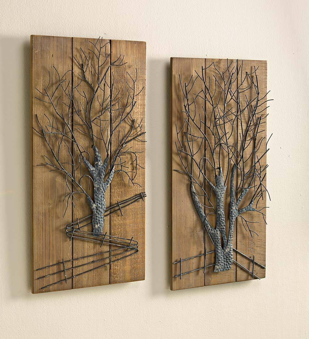 Wall Art Designs: Wood And Metal Wall Art Metal Tree On Wooden With Most  Recently