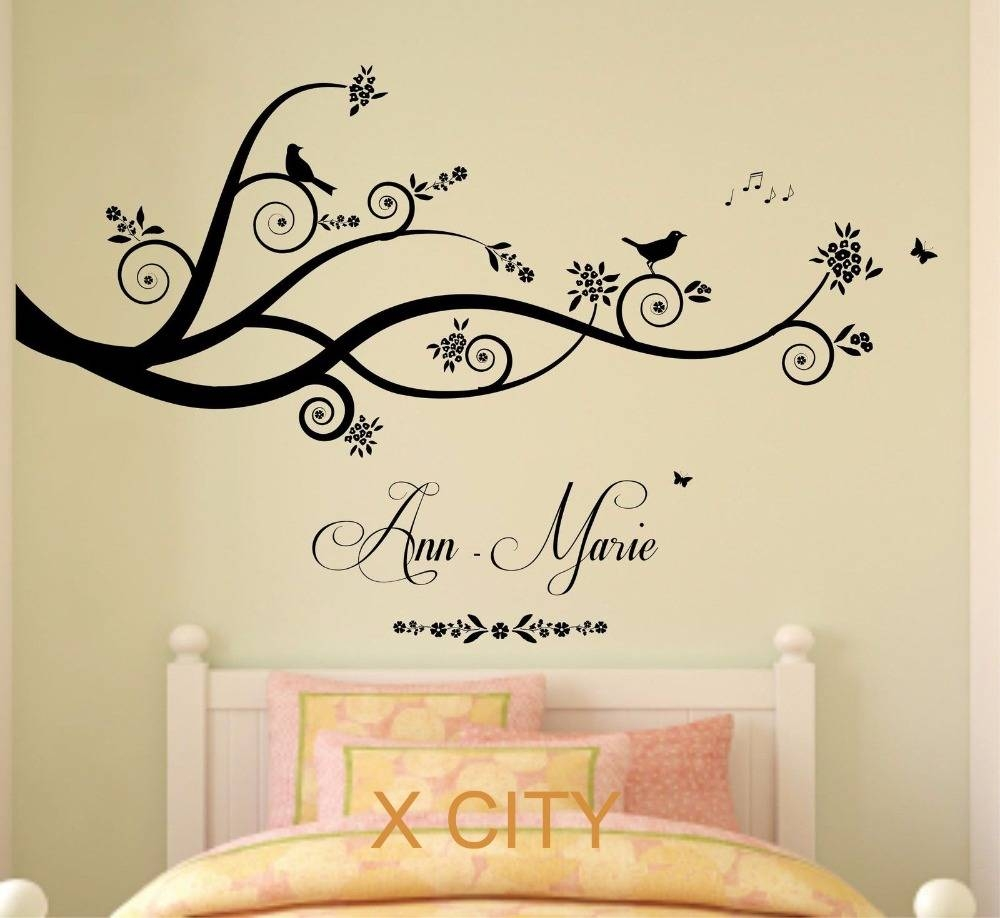 Wall Art For Bedroom Personalised Name Tree Birds D Butterflies Throughout Newest Wall Art For Girls (View 7 of 20)