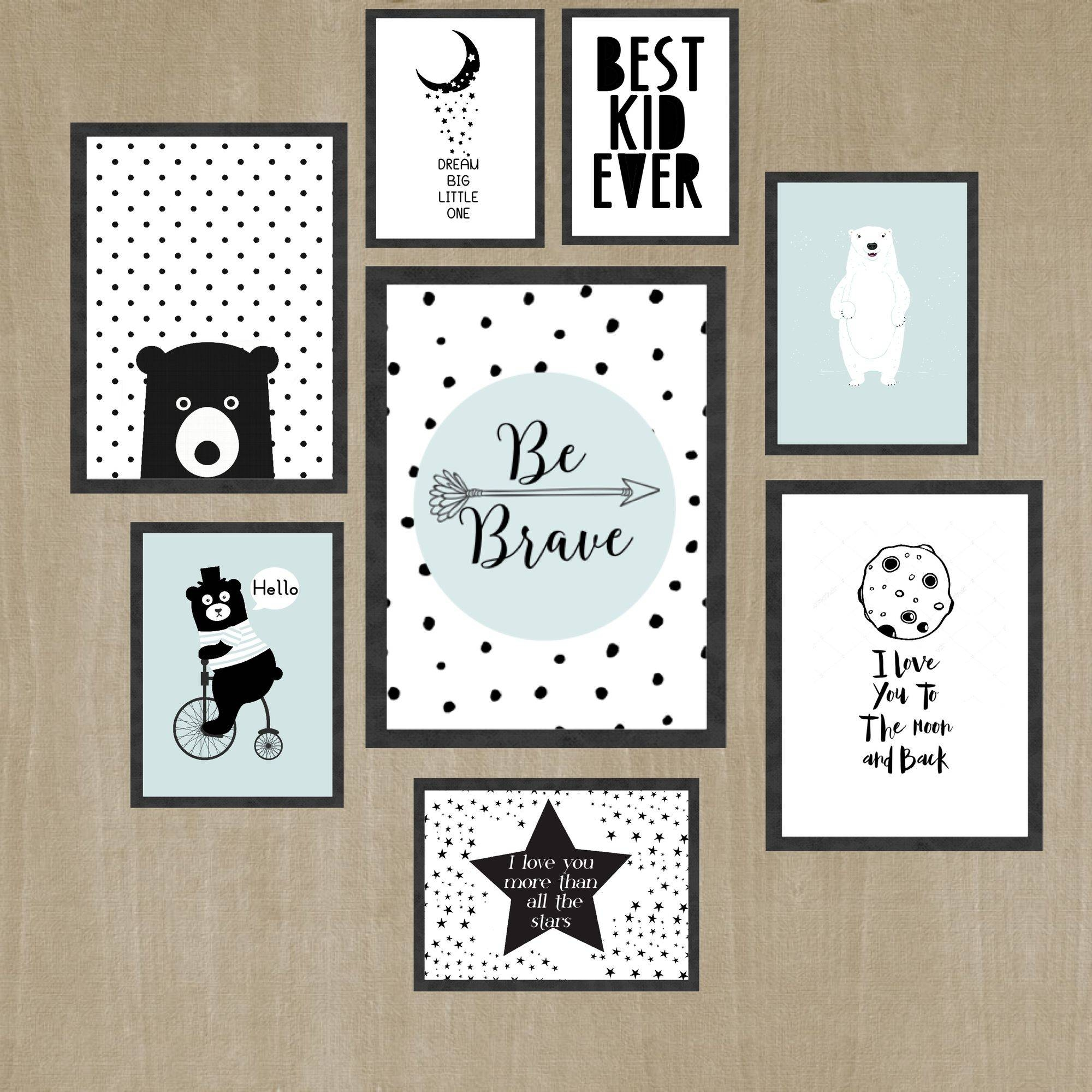 Wall Art For Kids Black And White Room Print Set Pastel Color Throughout Recent Black And White Wall Art Sets (View 11 of 20)