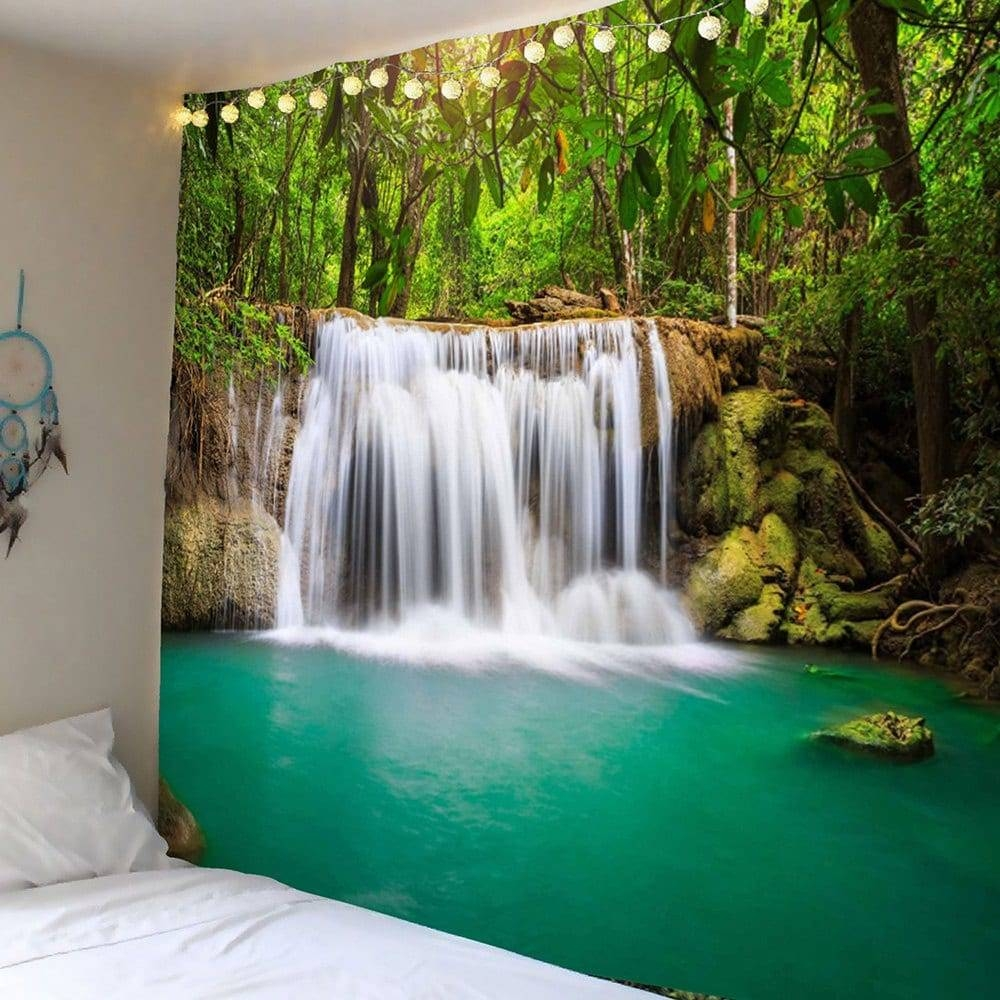 Wall Art Forest Waterfall Hanging Tapestry, Green, W Inch L Inch With 2017 Waterfall Wall Art (View 6 of 20)