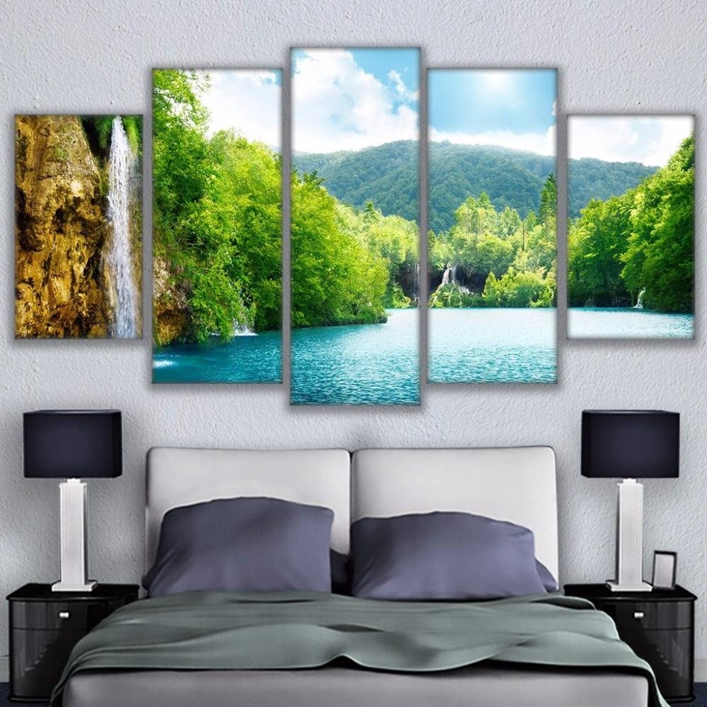 Wall Art Framed Pictures Hd Prints Canvas Paintings 5 Pieces River In Most Popular Waterfall Wall Art (View 18 of 20)