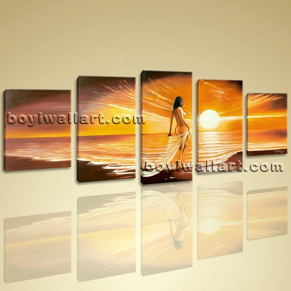Wall Art Giclee Print Seascape Beach Nude Girl Sunset Contemporary Regarding Best And Newest Huge Wall Art (View 11 of 20)