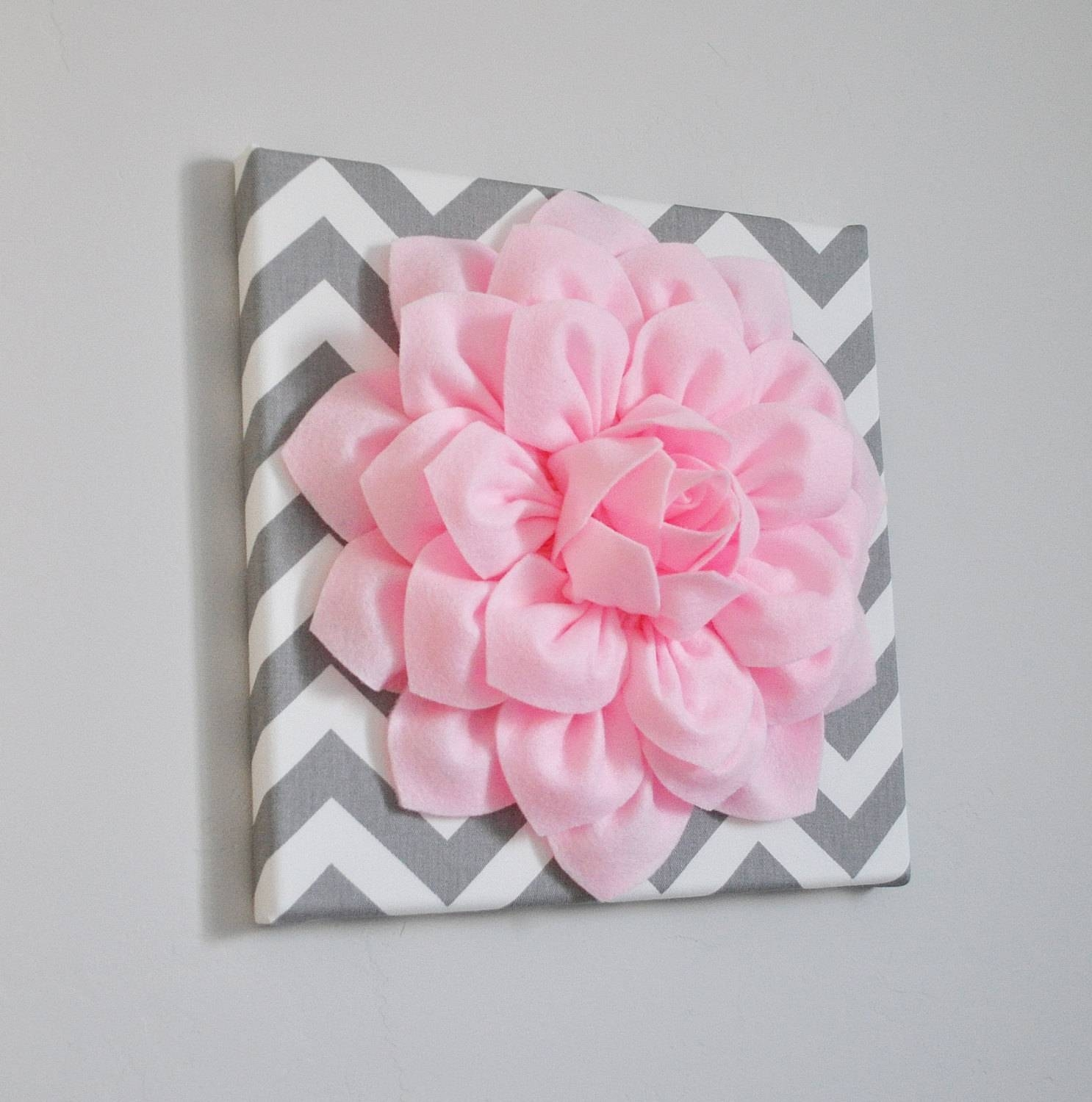 Wall Art Light Pink Dahlia On Gray And White Chevron 12 Intended For Recent Pink Flower Wall Art (View 19 of 20)