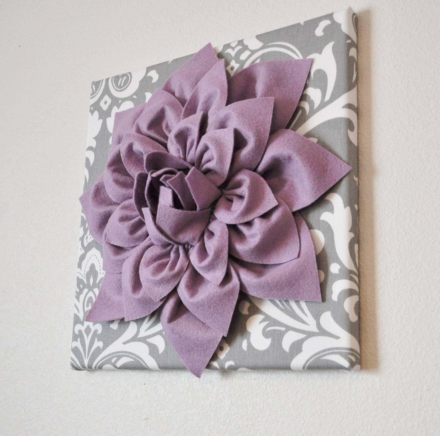 Wall Art Lilac Purple Dahlia On Gray And White Damask 12 Throughout Most Recent Purple Wall Art (View 7 of 20)