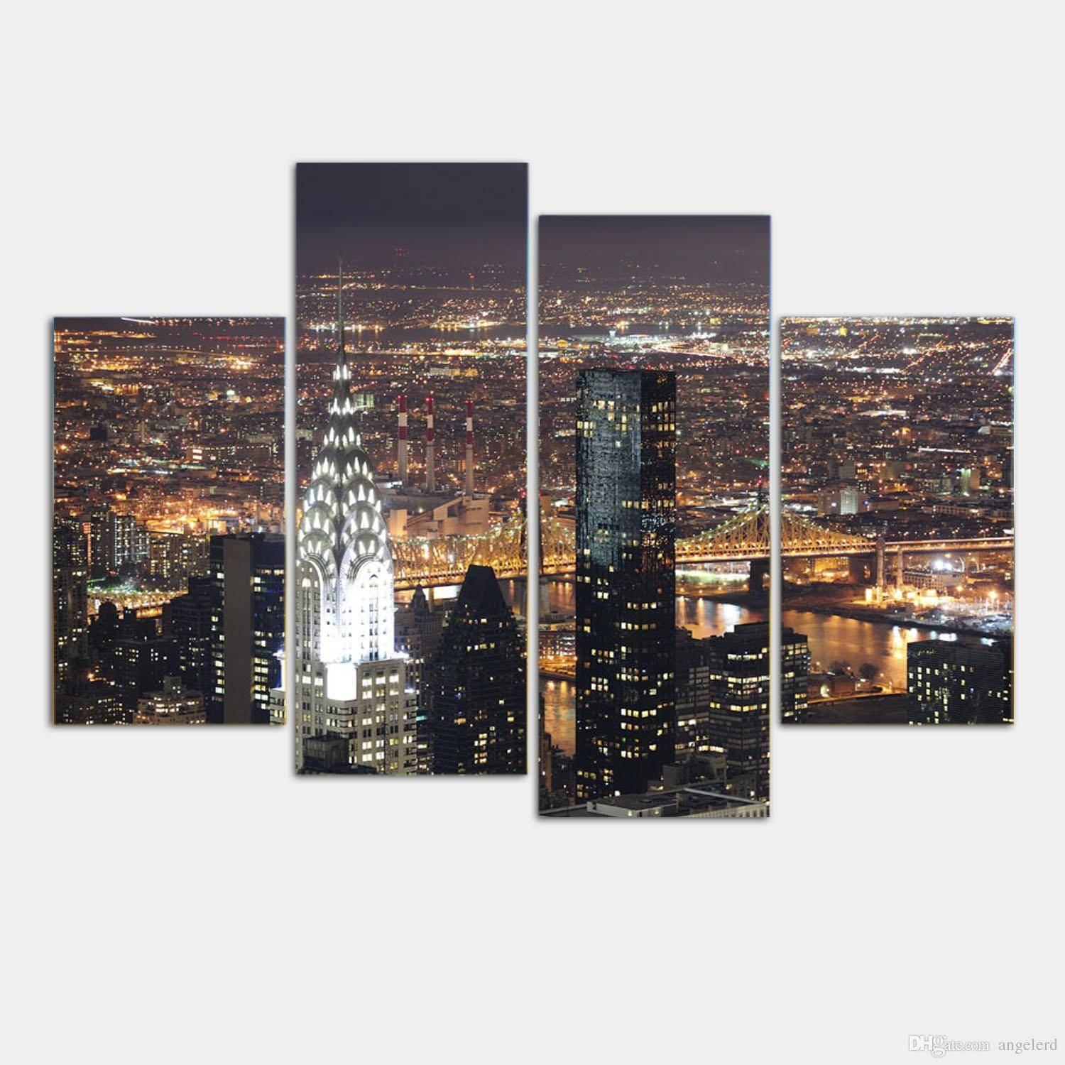 Wall Art New York City Manhattan Usa With Lights In Nice Night For 2018 New York City Canvas Wall Art (View 11 of 20)