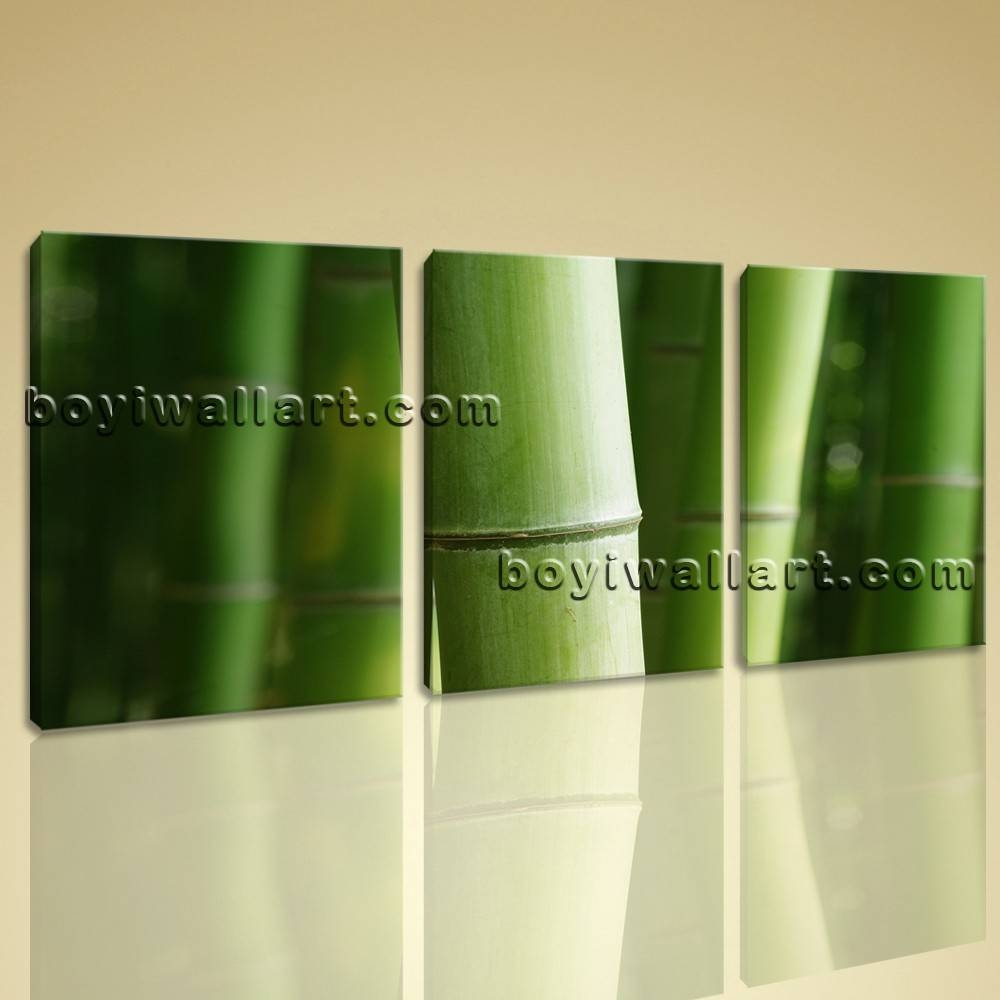 Wall Art Print Bamboo Tree Branches Home Decor Green Decorative Pertaining To Most Current Green Canvas Wall Art (View 19 of 20)