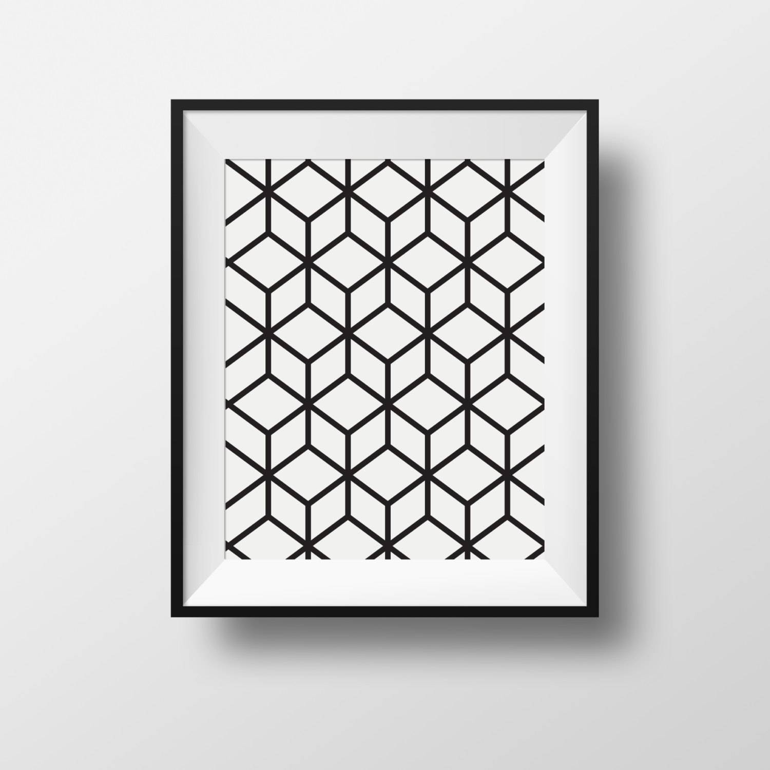 Wall Art Print Cubic Black And White Frame Ikea Ribba (View 14 of 16)