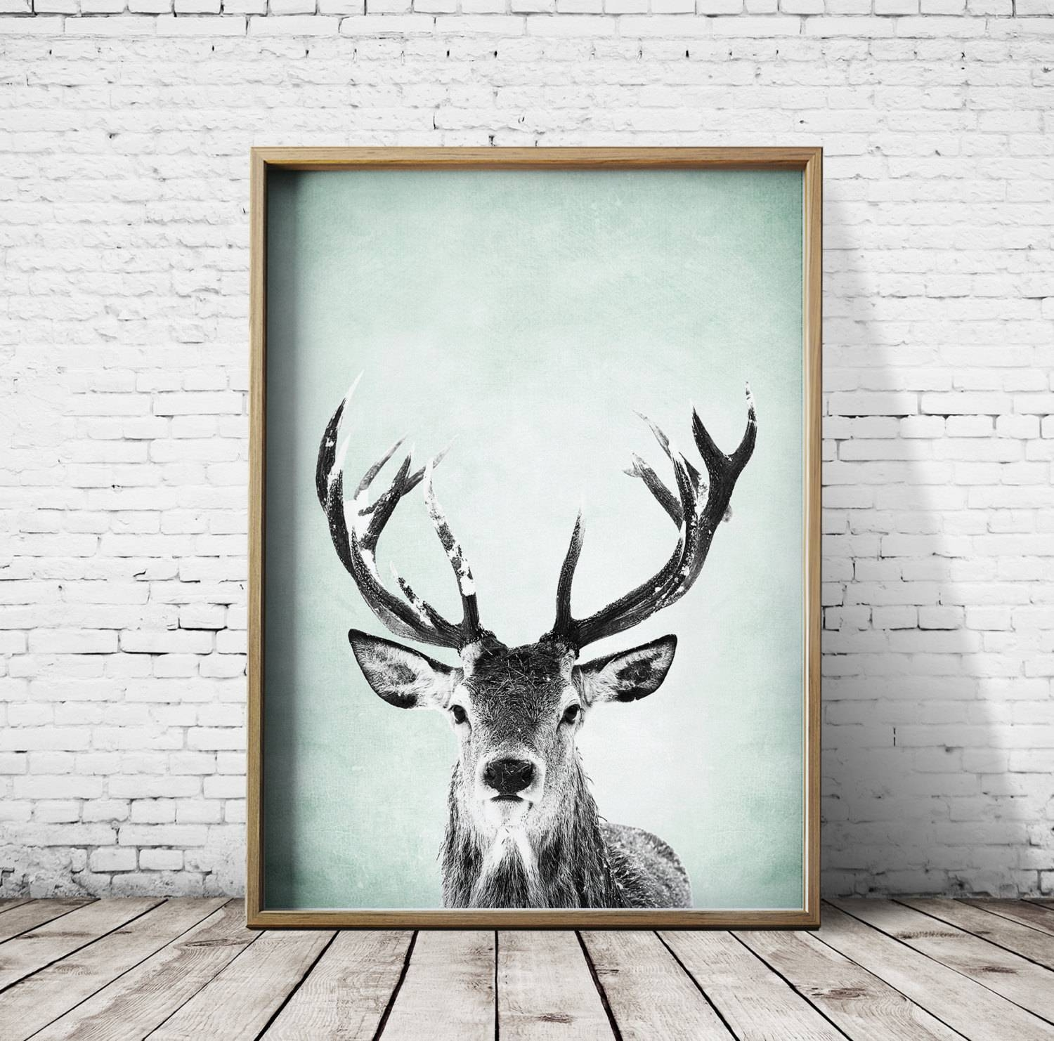 Wall Art Print Deer Print Deer Antlers Stag Print Animal Print Pertaining To Most Recently Released Stag Wall Art (View 3 of 20)