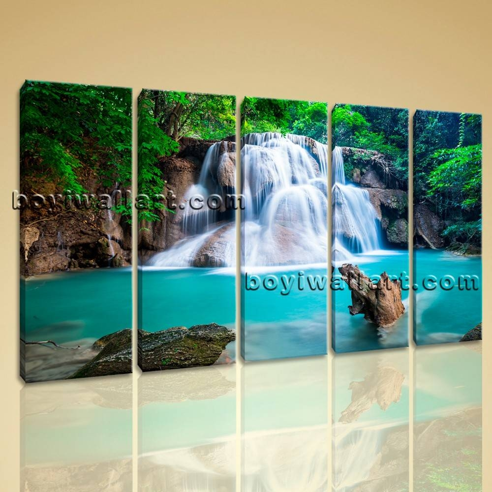 Wall Art Print Home Decoration Landscape Hd Picture Waterfall Modern In Best And Newest Waterfall Wall Art (View 3 of 20)