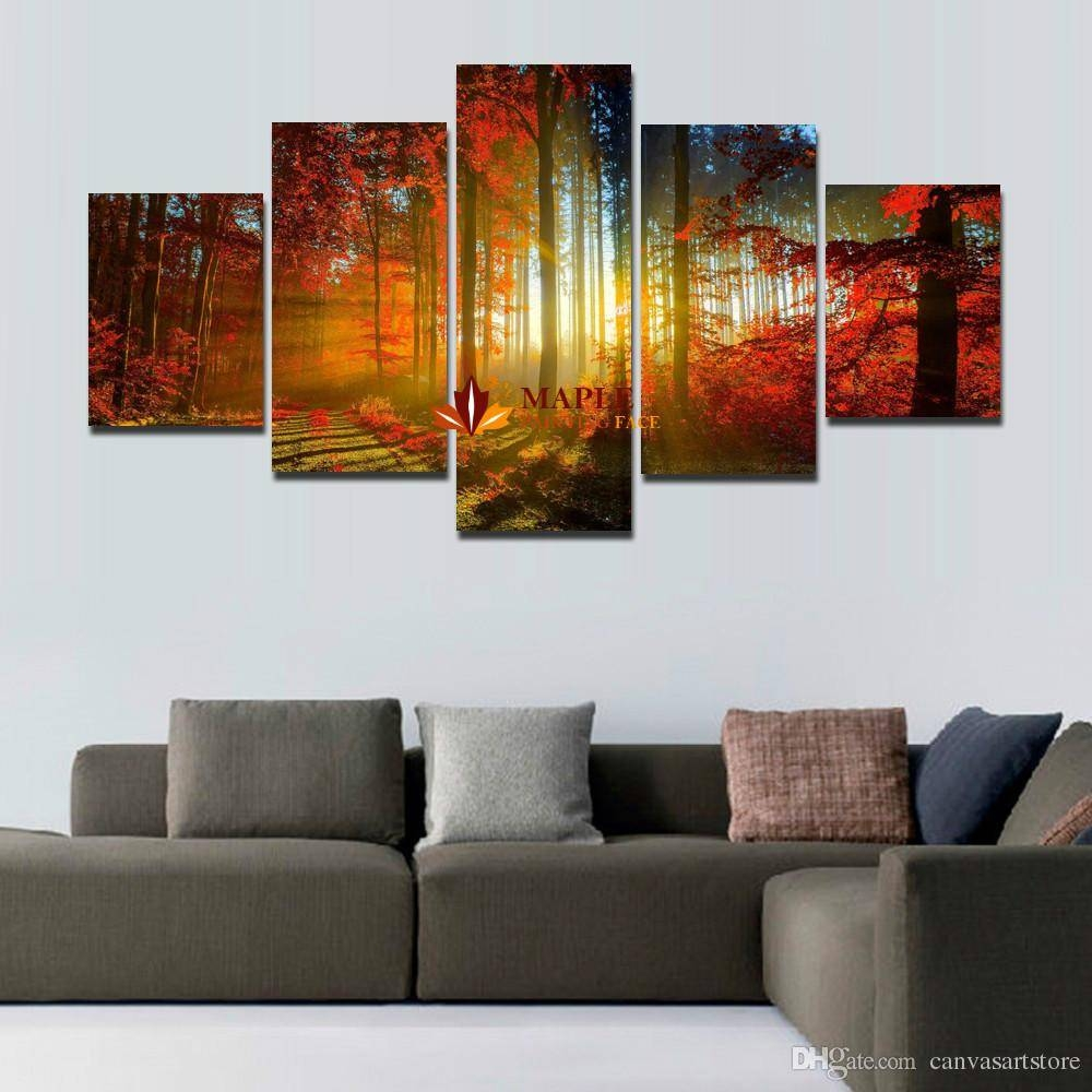 Wall Art Sets For Living Room With Panel Forest Painting Canvas Throughout Current Wall Art Sets For Living Room (View 20 of 20)