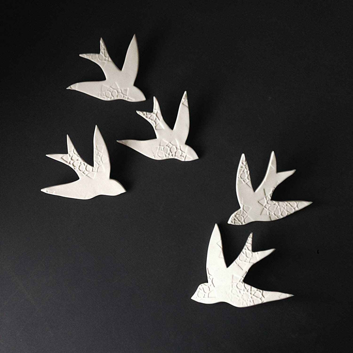 Wall Art Swallows Over Morocco White Porcelain Bird Wall Inside 2018 Ceramic Bird Wall Art (View 6 of 30)