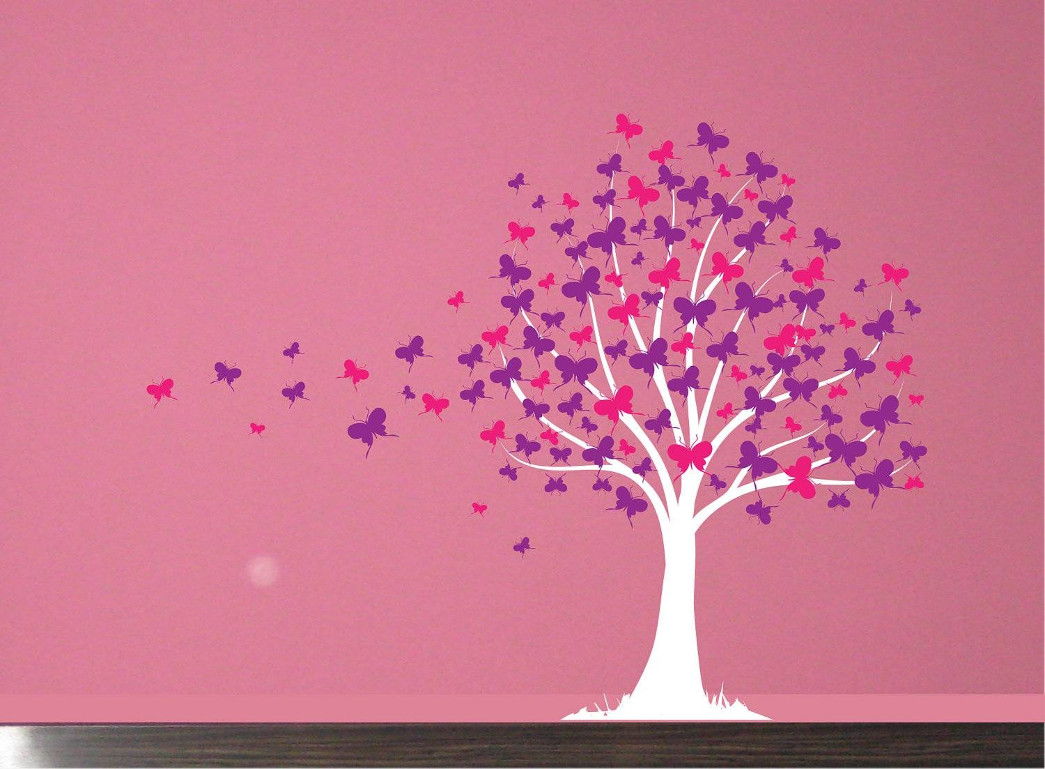 Wall Decal: Butterfly Tree Girls Vinyl Wall Art Decal Sticker Intended For Recent Butterflies Wall Art Stickers (View 11 of 20)