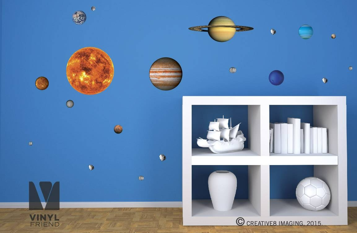 Wall Decal: Educational Solar System Wall Decals 3d Planet Wall Inside Latest 3d Solar System Wall Art Decor (View 13 of 20)