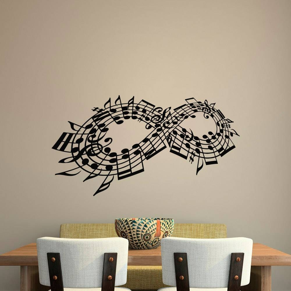 Wall Decal Music Note Decals Music Stuff Infinity Symbol Wall With Regard To Latest Music Note Art For Walls (View 7 of 25)