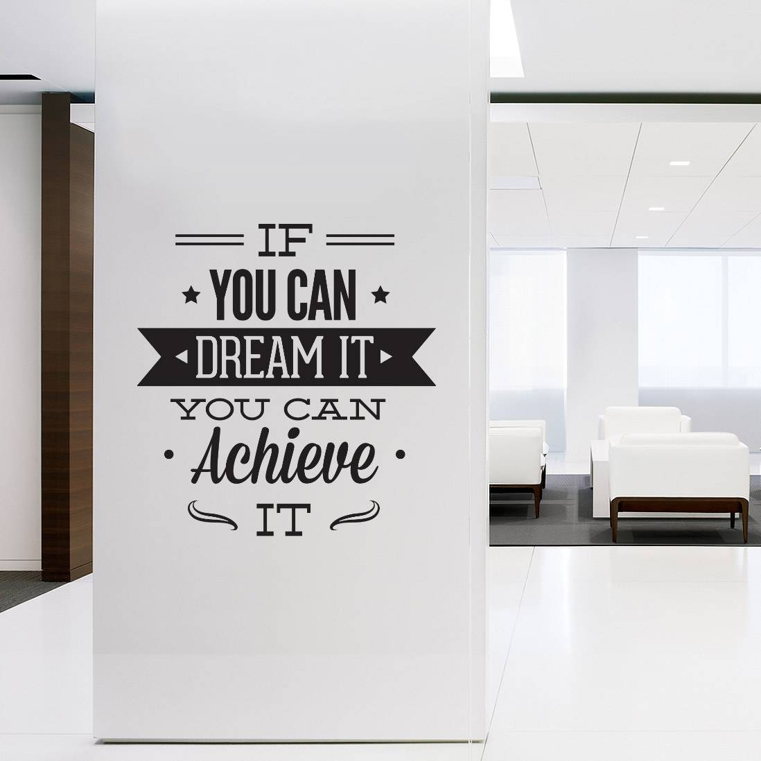Wall Decal Quotes – Wall Art Typographic Sticker Dream It Achieve Regarding Most Popular Inspirational Wall Art For Office (View 15 of 20)