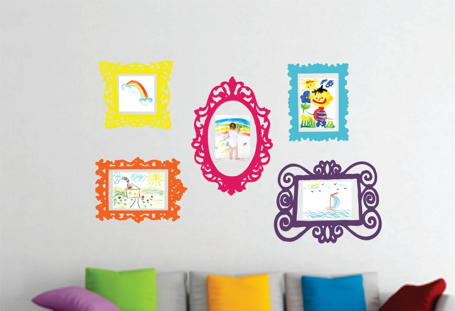 Wall Decal Set Of 5 Frames Playroom Decor Bedroom Wall For 2018 Wall Art For Playroom (View 27 of 30)