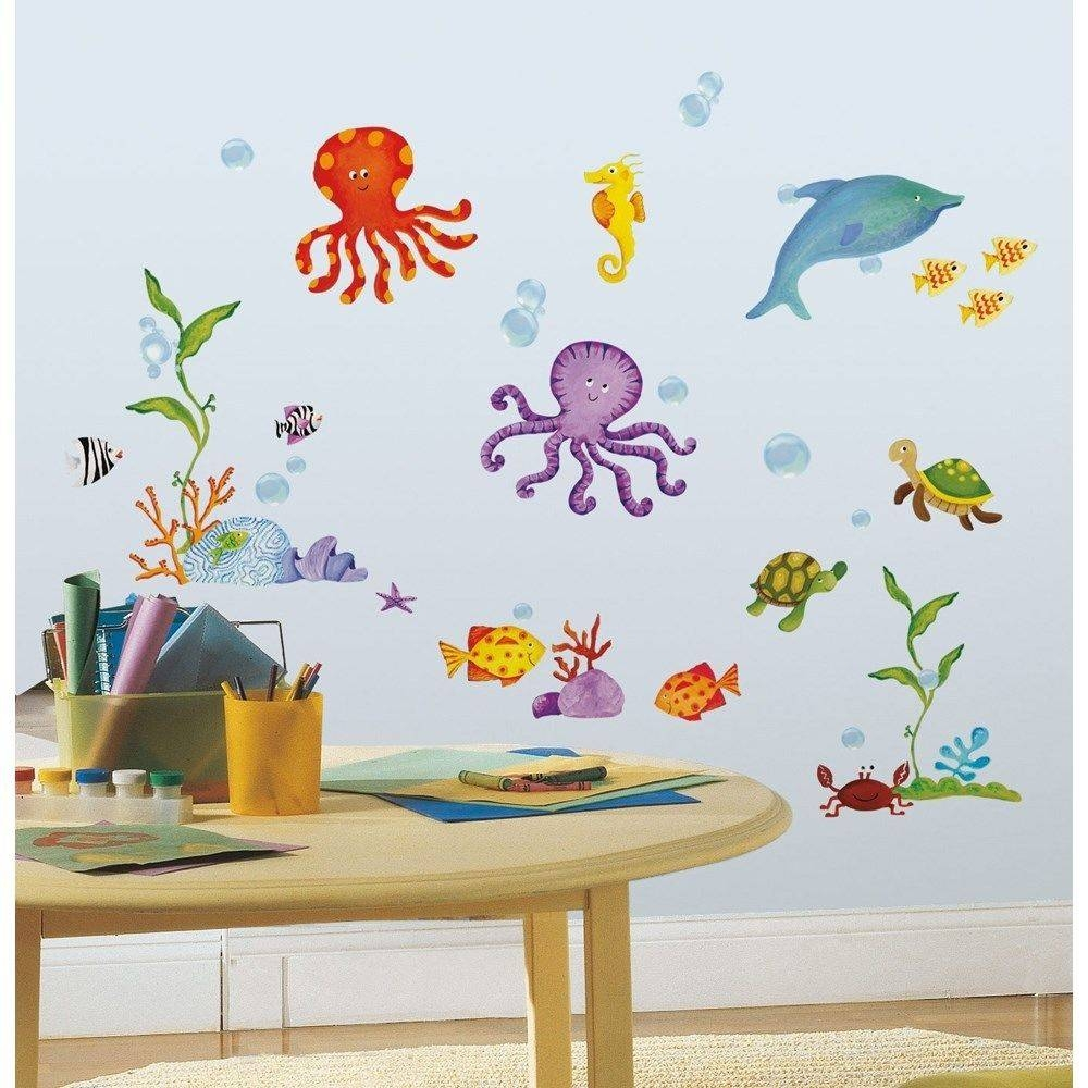 Wall Decal Set Popular Ocean Wall Decals – Home Decor Ideas Intended For Best And Newest Fish Decals For Bathroom (View 26 of 30)