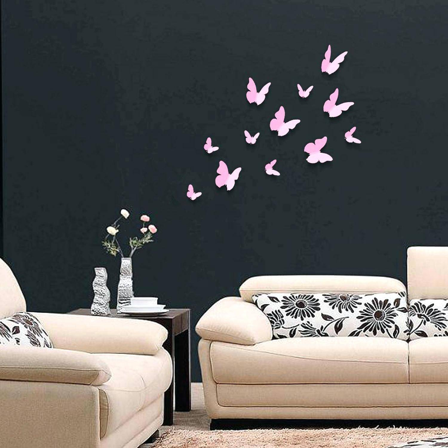 Wall Decals Flowers And Butterflies The Best In Butterfly Wall Within Newest Pink Butterfly Wall Art (View 20 of 20)