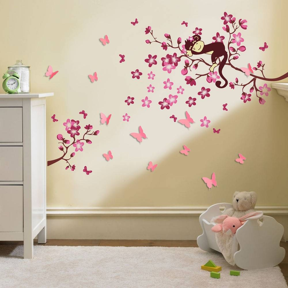 Wall Decals For Nursery Girl Cherry Blossom Tree Monkey Design 3d In Most Up To Date 3d Wall Art For Baby Nursery (View 3 of 20)