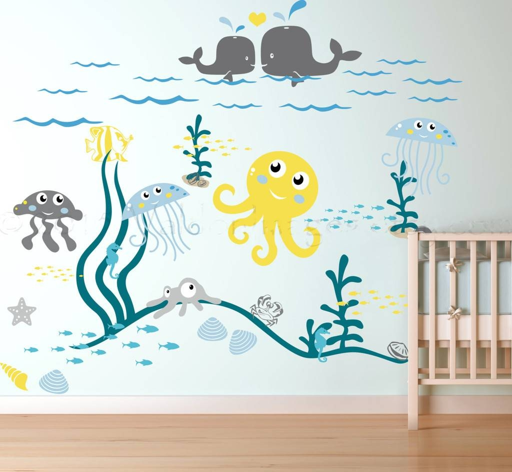 Wall Decals For Nursery Ocean Life Theme Vinyl Art Removable Item Intended For 2017 3d Wall Art For Baby Nursery (View 4 of 20)