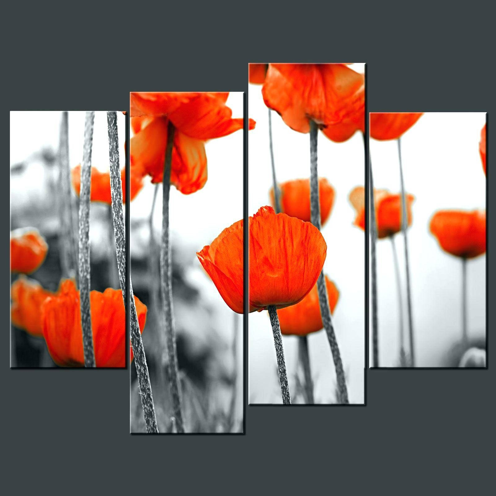 Wall Decor : 106 Red Flower 3 Piece Canvas Painting Wall Art Set Intended For 2017 Red Poppy Canvas Wall Art (View 6 of 20)
