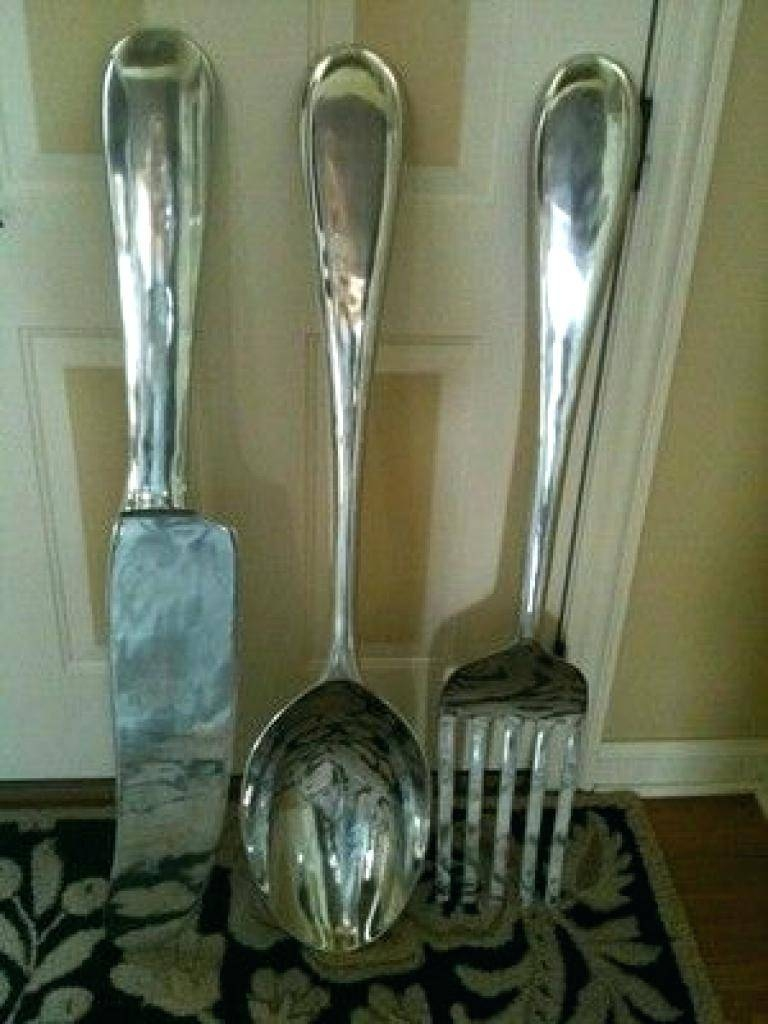 Wall Decor : 36 Big Fork And Spoon Wall Decor Black Splendid Big Regarding Latest Large Utensil Wall Art (View 12 of 20)