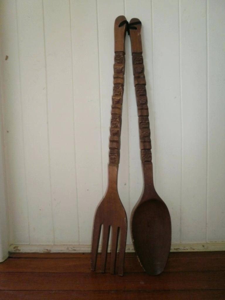 Wall Decor : Big Fork And Spoon Wall Decor Large 110 Giant Utensil Intended For Newest Oversized Cutlery Wall Art (View 11 of 20)