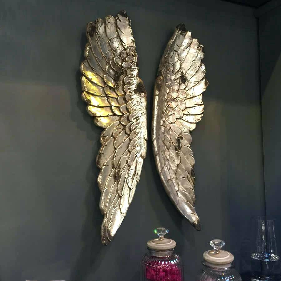 Wall Decor: Charming Angel Wing Wall Decor For Home Design. Wooden For Most  Recent