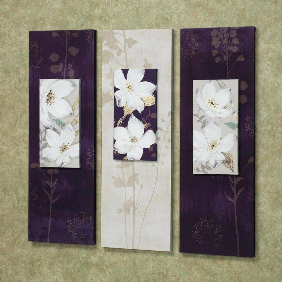 Wall Decor : Compact Free Shipping 3 Piece Wall Art White Purple Inside Most Up To Date 3 Piece Floral Canvas Wall Art (View 15 of 20)
