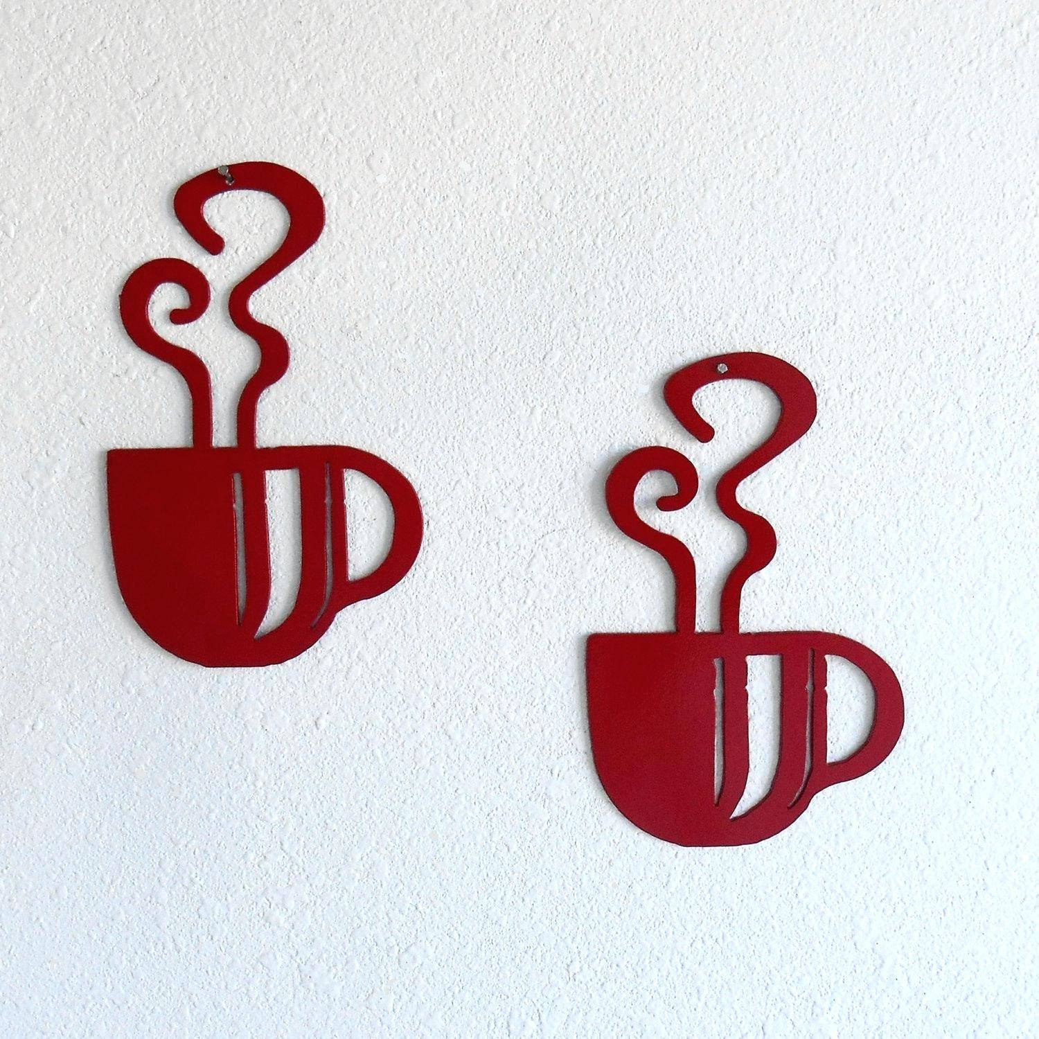 Wall Decor: Compact Metal Coffee Cup Wall Decor For Your House Pertaining To Most Recently Released Metal Coffee Cup Wall Art (View 18 of 20)