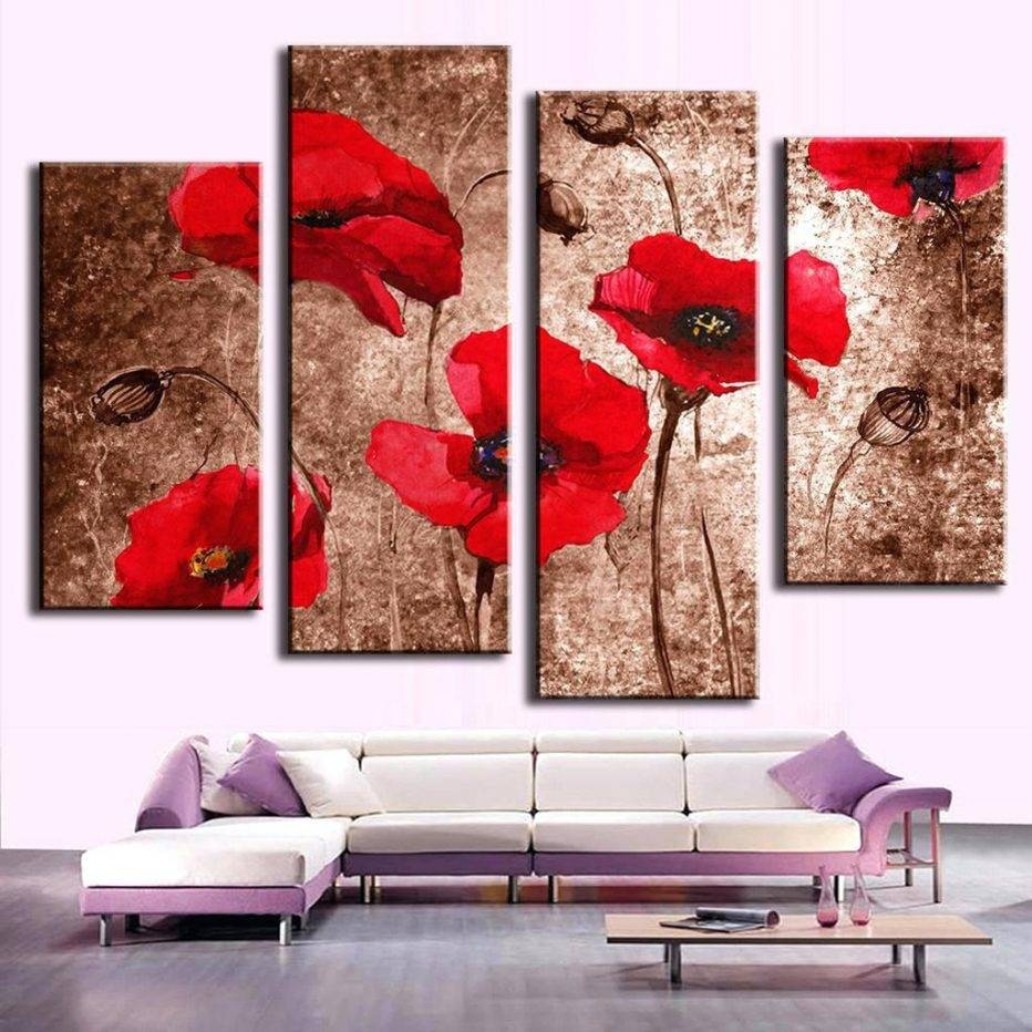 Wall Decor : Excellent 4 Pcs Set Modern Flower Wall Picture Pertaining To Most Up To Date Metal Poppy Wall Art (View 23 of 30)