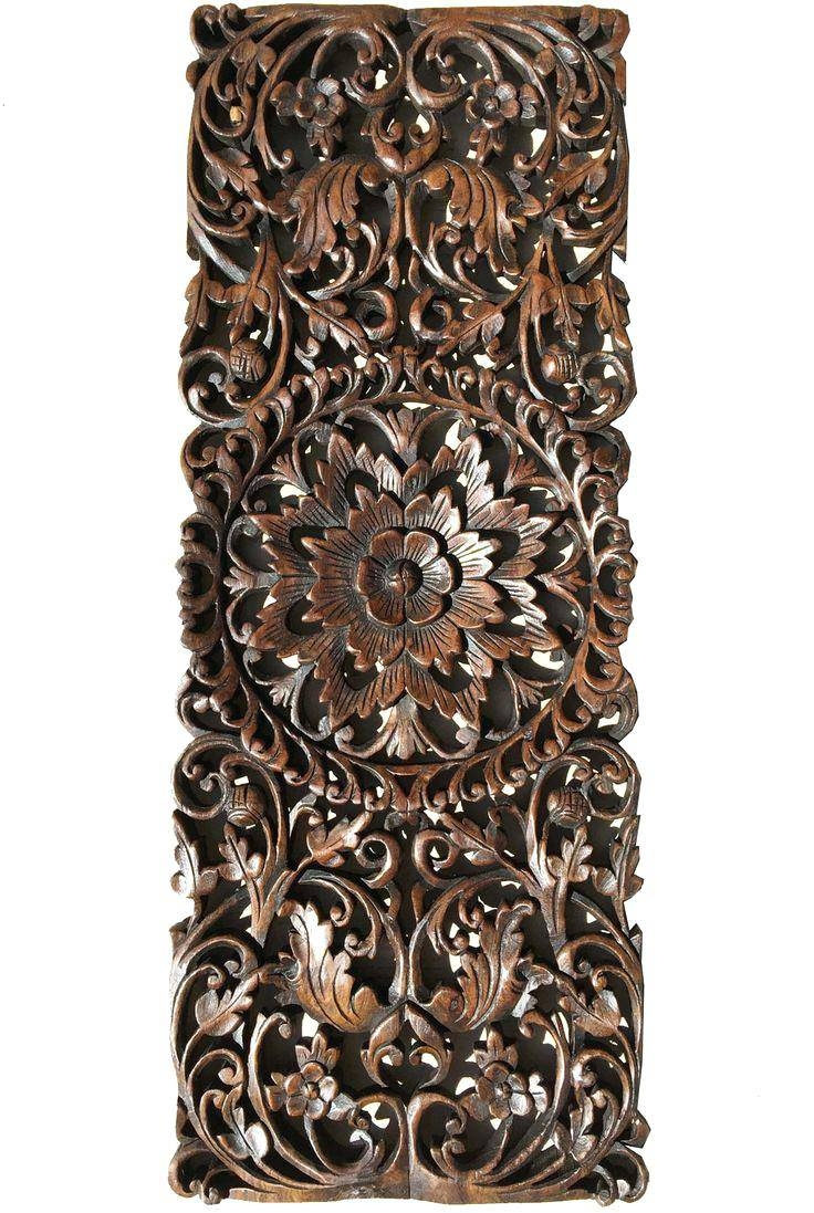 Wall Decor : Faux Wrought Iron Wall Art Floral Tropical Carved Intended For Current Dark Wood Wall Art (View 12 of 15)