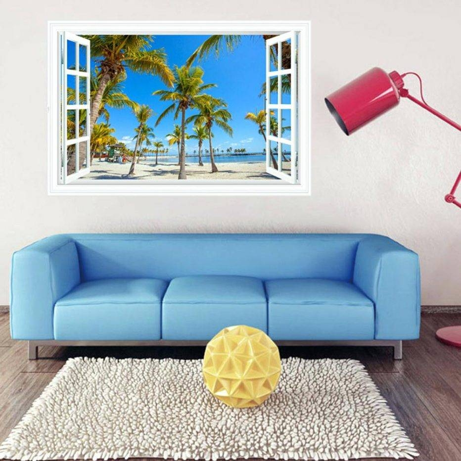 Wall Decor : Gorgeous Living Room Landscape Palm Tree Window Inside Newest 3d Wall Art For Living Room (Gallery 8 of 20)