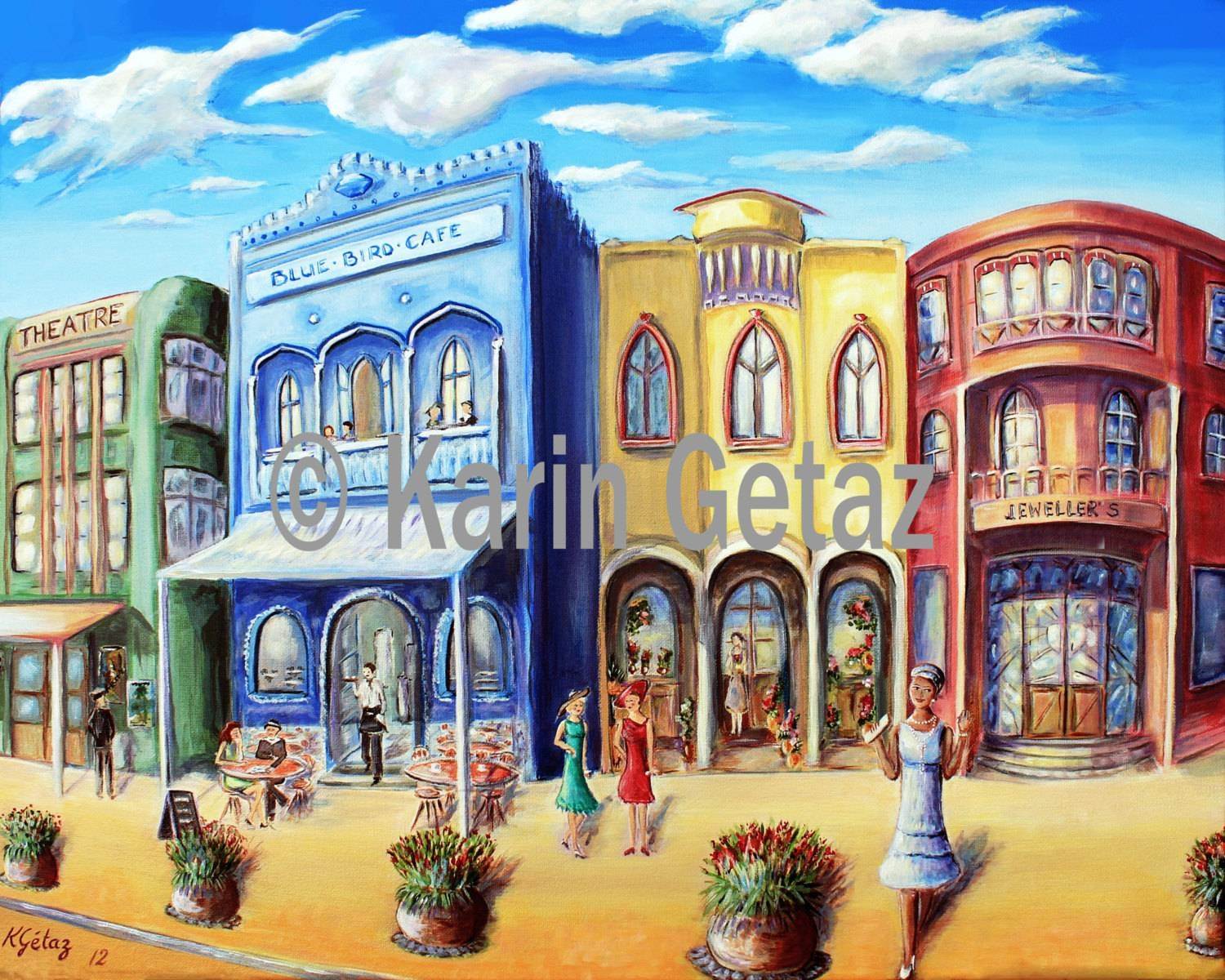 Wall Decor Print Art Deco Town Cafe Scene Print Tropical Inside Current Street Scene Wall Art (View 6 of 25)