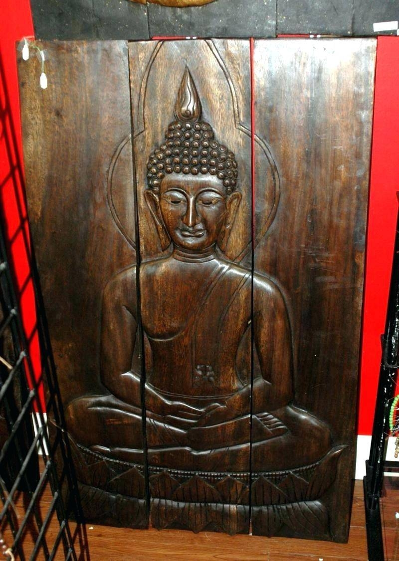 Wall Decor : Terrific Handmade Asian Tribal Style Wood Carving in Most Recent Large Buddha Wall Art