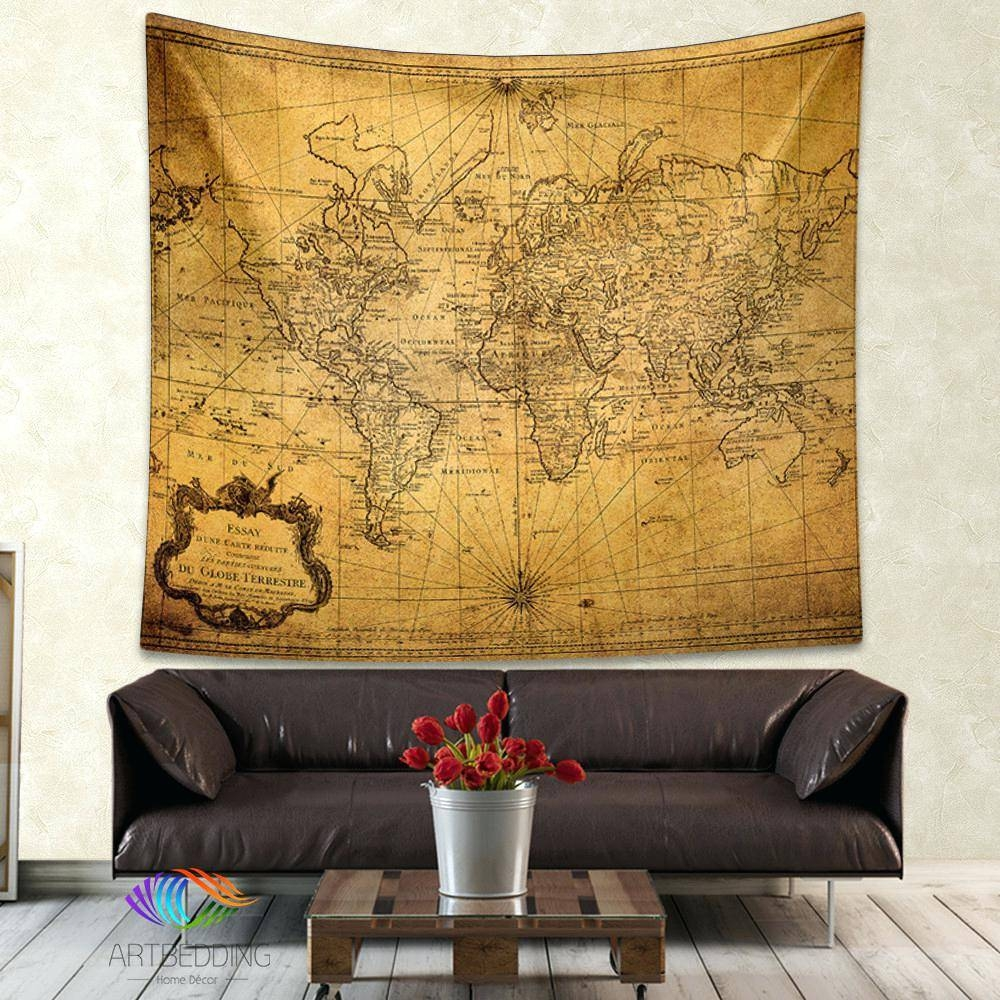 Wall Decor : Vintage World Map Wall Tapestry Steampunk Ancient Intended For Most Current Vintage Map Wall Art (View 15 of 20)